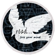 Read Free Your Mind Teal Round Beach Towel by Angelina Vick