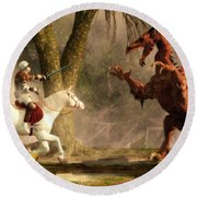 Saint George And The Dragon Round Beach Towel by Daniel Eskridge