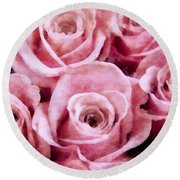 Soft Pink Roses Round Beach Towel by Angelina Vick