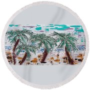 Surf N Palms Round Beach Towel by J R Seymour