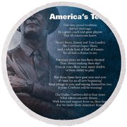 America's Team Poetry Art Round Beach Towel by Stanley Mathis