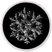 Snowflake Vector - Gardener's Dream Black Version Round Beach Towel by Alexey Kljatov