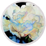 Dew Drops On Peony Round Beach Towel by Hanne Lore Koehler
