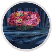 Fabric And Flowers Round Beach Towel by Sharon E Allen