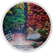 Fall In Quebec Canada Round Beach Towel by Karin  Dawn Kelshall- Best