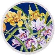 Orchids In Blue Round Beach Towel by Lucy Arnold