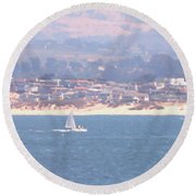 Pastel Sail Round Beach Towel by Pharris Art