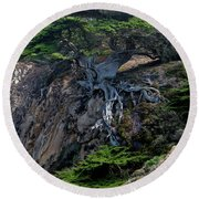 Point Lobos Veteran Cypress Tree Round Beach Towel by Charlene Mitchell