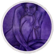 Purple Round Beach Towel by Thomas Valentine
