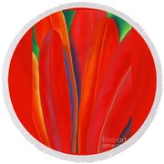 Red Petals Round Beach Towel by Lucy Arnold