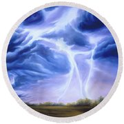 Tesla Round Beach Towel by James Christopher Hill