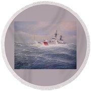 U. S. Coast Guard Cutter Gallitin Round Beach Towel by William H RaVell III