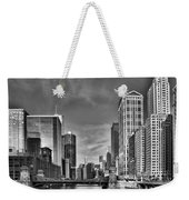 Chicago River In Black And White Weekender Tote Bag by Sebastian Musial