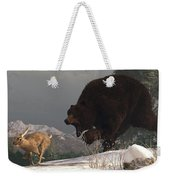 Grizzly Bear Chasing Rabbit Weekender Tote Bag by Daniel Eskridge