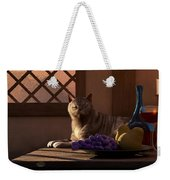 Still Life With Wine Fruit And Cat  Weekender Tote Bag by Daniel Eskridge