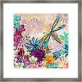 Whimsical Floral Flowers Dragonfly Art Colorful Uplifting Painting By Megan Duncanson Framed Print by Megan Duncanson