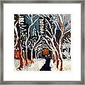 Bryant Park Winter Night Nyc Framed Print by Jean Messner