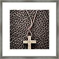 Christian Cross On Bible Framed Print by Elena Elisseeva