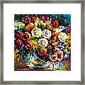 Roses And Wine Framed Print by Leonid Afremov