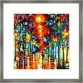 Night Park Framed Print by Leonid Afremov