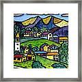 A Folksy Swiss Town Framed Print by Monica Engeler