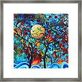 Abstract Contemporary Colorful Landscape Painting Lovers Moon By Madart Framed Print by Megan Duncanson