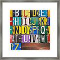 Alphabet License Plate Letters Artwork Framed Print by Design Turnpike