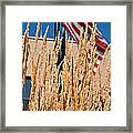 Amber Waves Of Grain And Flag Framed Print by Valerie Garner
