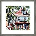 American Home With Children's Gazebo Framed Print by Kip DeVore