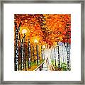 Autumn Park Night Lights Palette Knife Framed Print by Georgeta  Blanaru