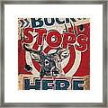 Buck Stops Here Sign Framed Print by JQ Licensing