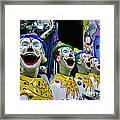 Carnival Clowns Framed Print by Kaye Menner