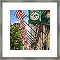 Chicago Macy's Clock And Chicago Theatre Sign Framed Print by Paul Velgos