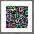 Cloured Butterfly Explosion Framed Print by Alixandra Mullins