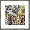 Columbus At Hispaniola Framed Print by London Justin Winsor
