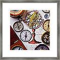 Compasses And Globe Illustration Framed Print by Garry Gay