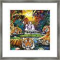 Family At The Jungle Pool Framed Print by Jan Patrik Krasny