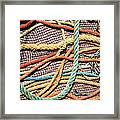 Fishing Ropes And Net Framed Print by Carlos Caetano