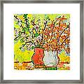 Forsythia And Cherry Blossoms Spring Flowers Framed Print by Ana Maria Edulescu