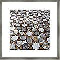 Geometric Marble Floor Design At Lahore Fort Framed Print by Robert Preston