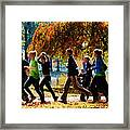 Girls Jogging On An Autumn Day Framed Print by Susan Savad
