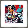 Jeter At Bat Framed Print by Maria Arango