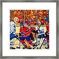 Olympic  Hockey Hopefuls  Painting By Montreal Hockey Artist Carole Spandau Framed Print by Carole Spandau