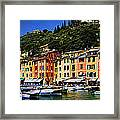 Panorama Of Portofino Harbour Italian Riviera Framed Print by David Smith