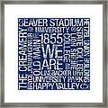 Penn State College Colors Subway Art Framed Print by Replay Photos