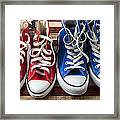Red And Blue Tennis Shoes Framed Print by Garry Gay