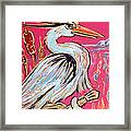 Red Hot Heron Blues Framed Print by Robert Ponzio