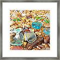 Seaglass Coastal Beach Rock Garden Agates Framed Print by Baslee Troutman