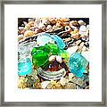 Smiley Face Beach Seaglass Blue Green Art Prints Framed Print by Baslee Troutman