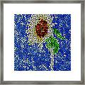 Stained Glass  Sunflower Over The Blue Sky Framed Print by Lanjee Chee